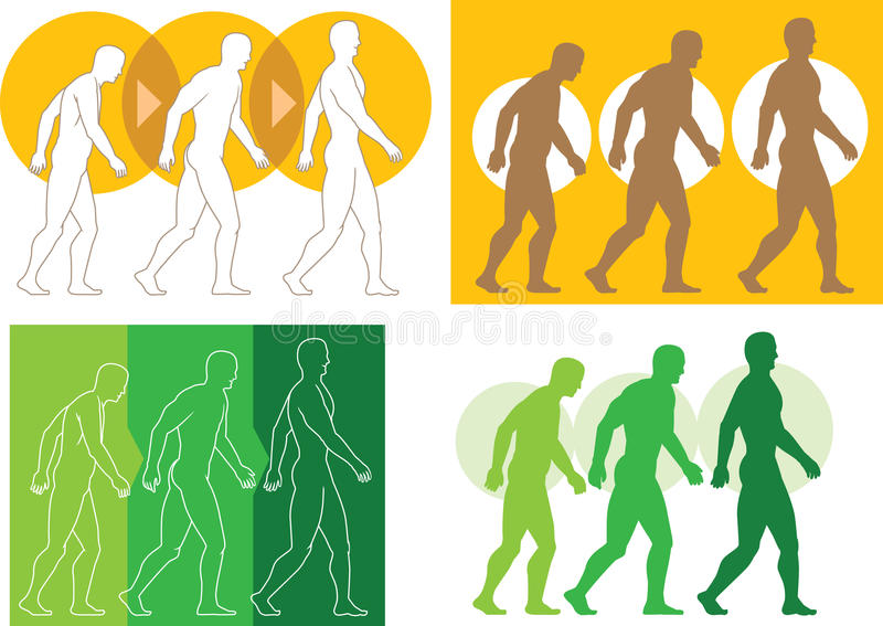 Evolving man. Three versions of a man getting in better shape vector illustration