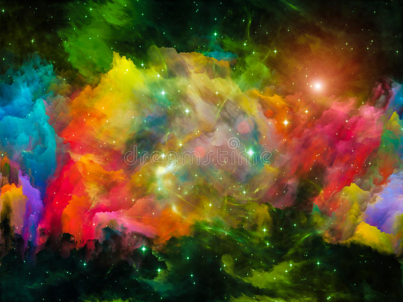 Evolving Nebula. Colors in Space series. Graphic composition of colorful clouds and space elements to serve as complimentary design for subject of art stock illustration