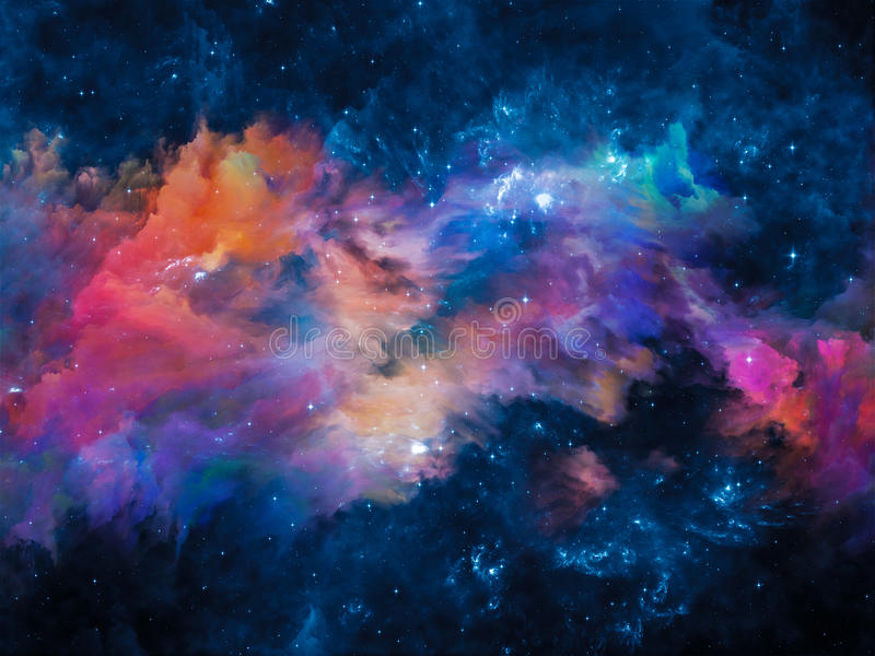 Evolving Nebula. Colors in Space series. Graphic composition of colorful clouds and space elements to serve as complimentary design for subject of art