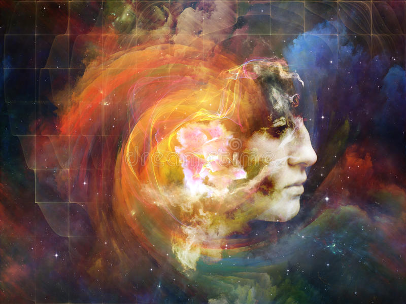 Evolving Our Past. Memory of Me series. Interplay of female portrait and space texture on the subject of art, philosophy and spirituality royalty free stock photos