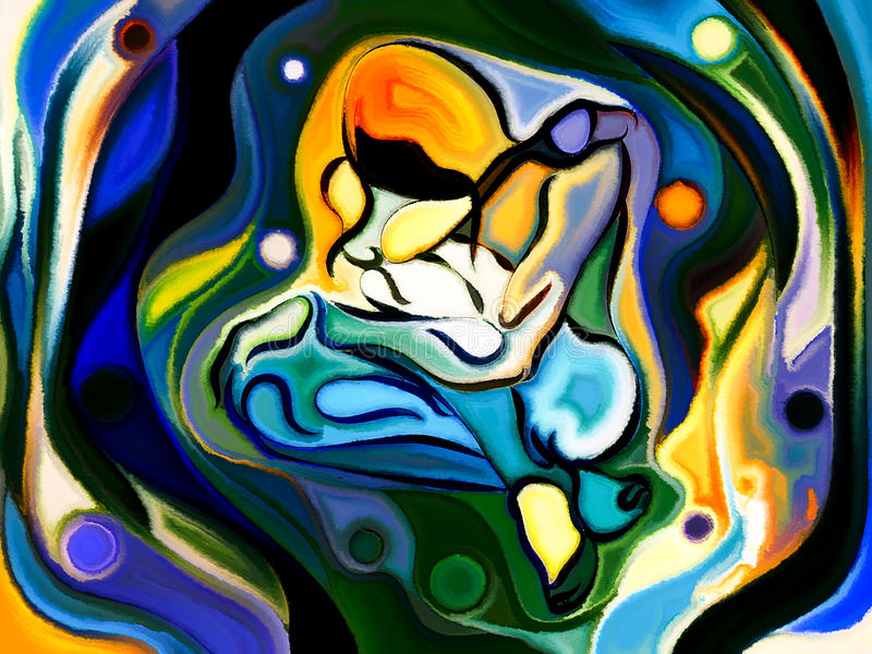 Evolving Self. Self and Being series. Composition of human figure, curves and colors on the subject of dream, mind, art and human existence stock images