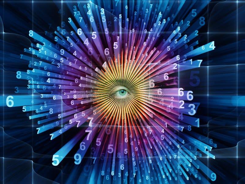 Evolving World of Numbers. Female eye and digital burst background stock illustration