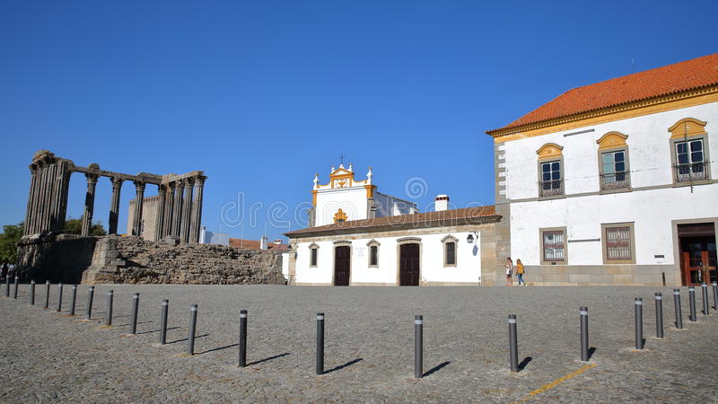 EVORA, PORTUGAL - OCTOBER 8, 2016: Roman ruins of Diana`s Temple and the chapel of Saint John the Evangelist royalty free stock photos