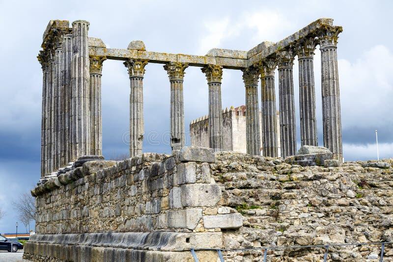 evora portugal Roman Temple Diana royaltyfri bild