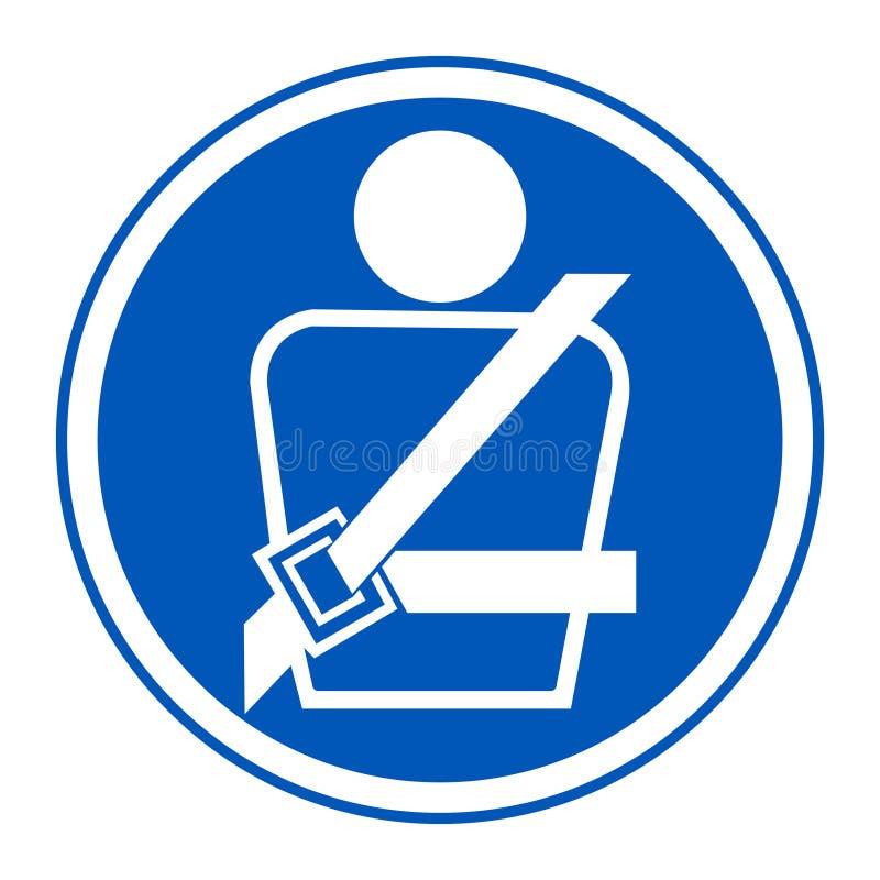 EVP-Ikone Tragen eines Sicherheitsgurt Symbol-Zeichen-Isolats auf weißem Hintergrund, Vektor-Illustration ENV 10 vektor abbildung