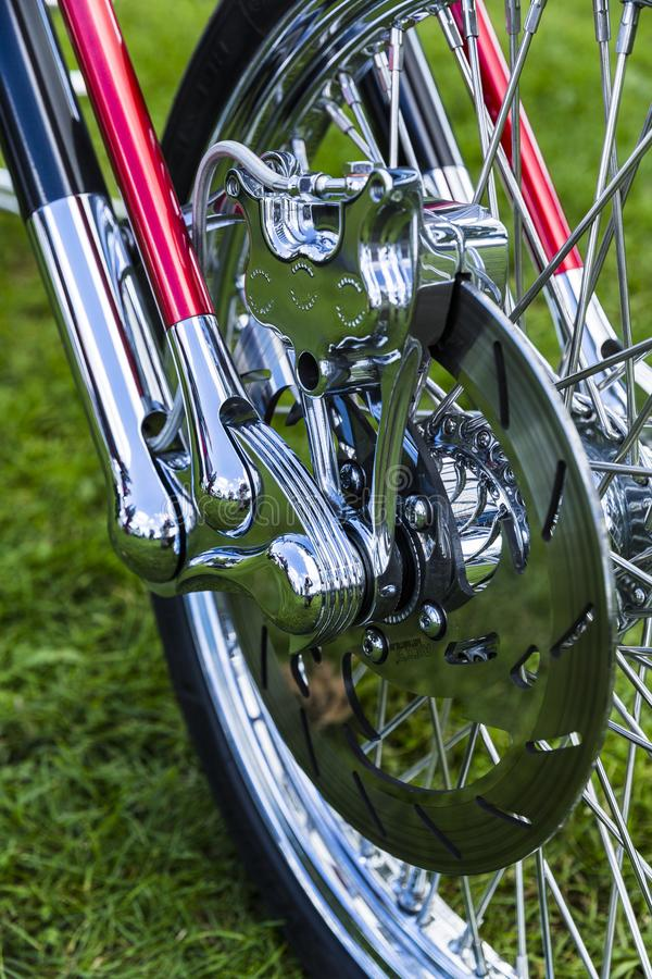 Close up of modern motorcycle wheel break detail structure. stock photo