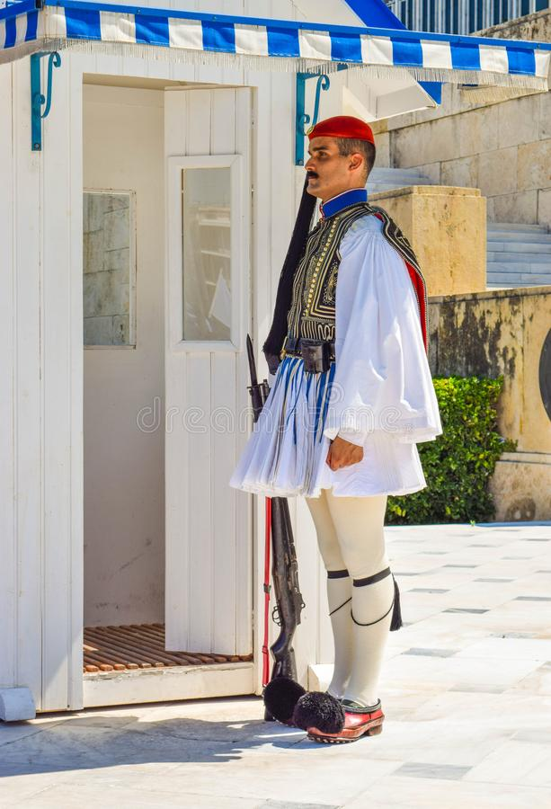 Evzon honour guard. Athens, Greece - July 16, 2017: The evzon honour guard of the presidential guard at the Parliament building stock photography