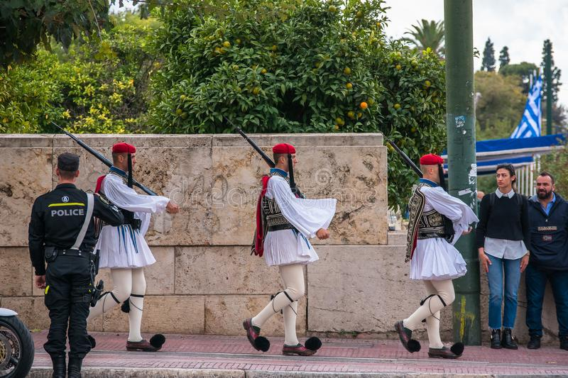 Evzones the presidential guards. The Evzones, is the name of several historical elite light infantry and mountain units of the Greek Army. Today, it refers to stock photography