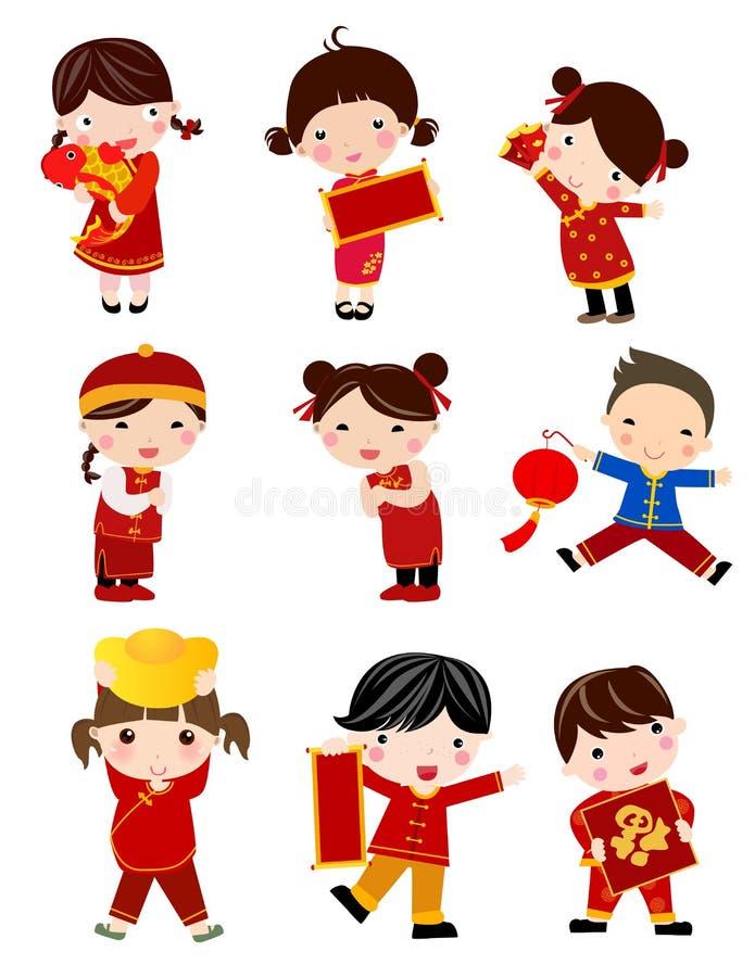 ew-år Greetings_children stock illustrationer