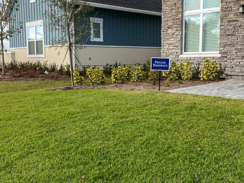 Ew home that has a sign in the yard that says Private Residence in Lake Nona Orlando, Florida. Orlando, FL/USA - 12/25/19: A new home that has a sign in the yard stock photos