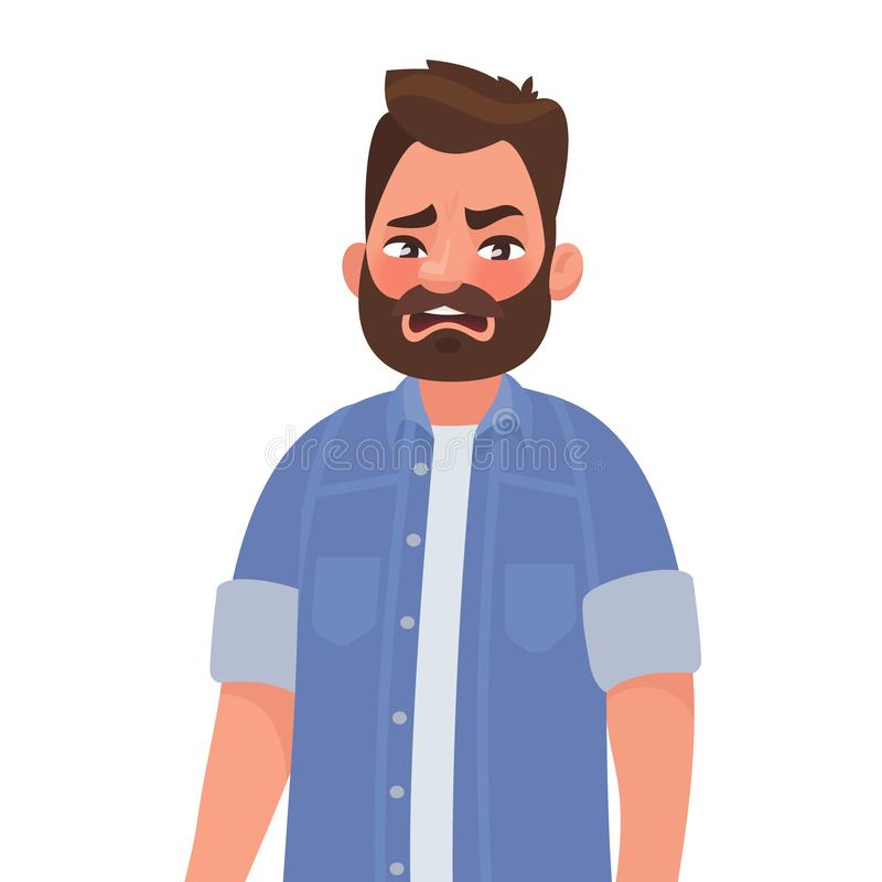 Ew. It`s so gross. Man shows an emotion of disgust. The concept. Of something detestable. Vector illustration in cartoon style stock illustration