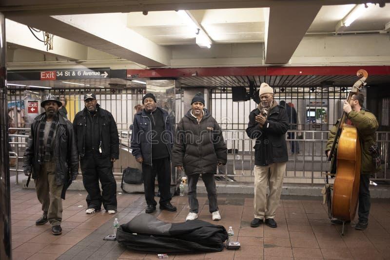 Ewangelia i Jazzowy zespół w Union Square stacji fotografia royalty free