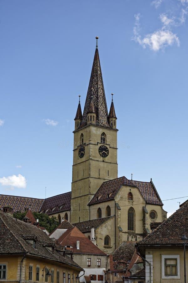 Ewangelicki Katedralny Sibiu Rumunia widok od Cibin fotografia royalty free