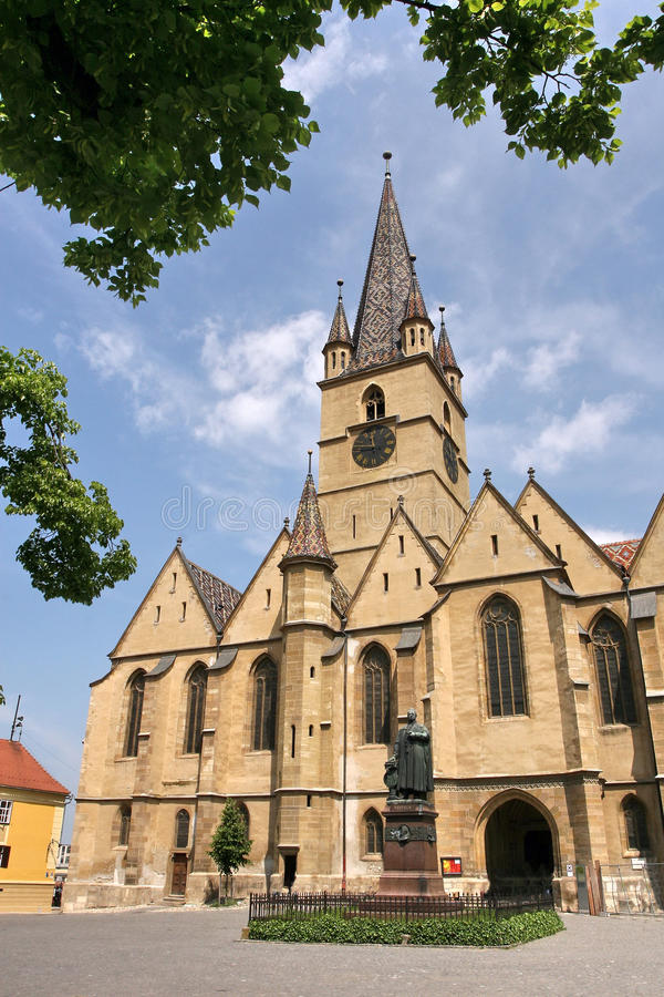 Ewangelicki kościół Sibiu â Rumunia fotografia stock