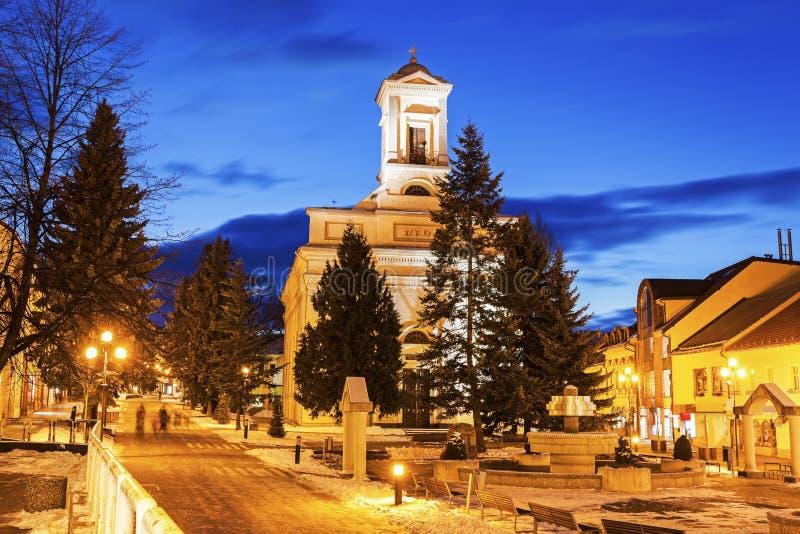 Ewangelicki kościół w Poprad przy nocą fotografia stock