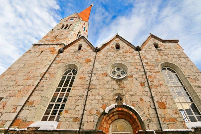 Ewangelicki kościół w Salzkammergut, Hallstatt w Austria obraz royalty free