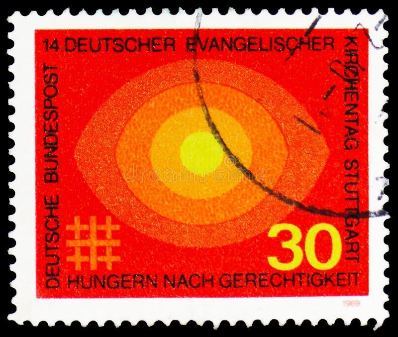 Ewangelicki Kościelny dzień, 14th Niemiecki Protestancki kongres, Stuttgart seria około 1969, obrazy royalty free