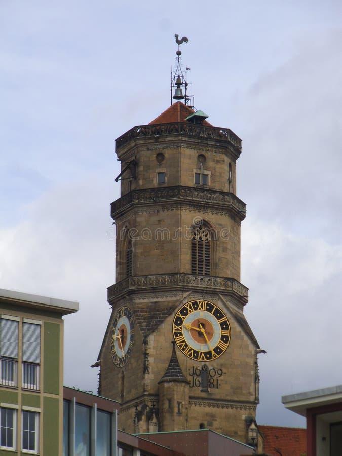 Ewangelicki kościelny wierza w Stuttgart obraz royalty free
