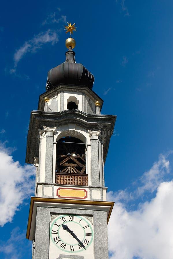 Ewangeliczka Reformowany kościół - Samedan Szwajcaria obraz stock