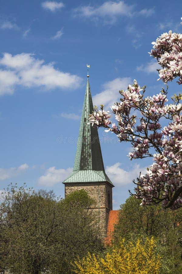 Ewangeliczki St Laurentius kościół w Schledehausen, Osnabrueck kraj, Niski Saxony, Niemcy (kośćiół protestancki) obraz stock