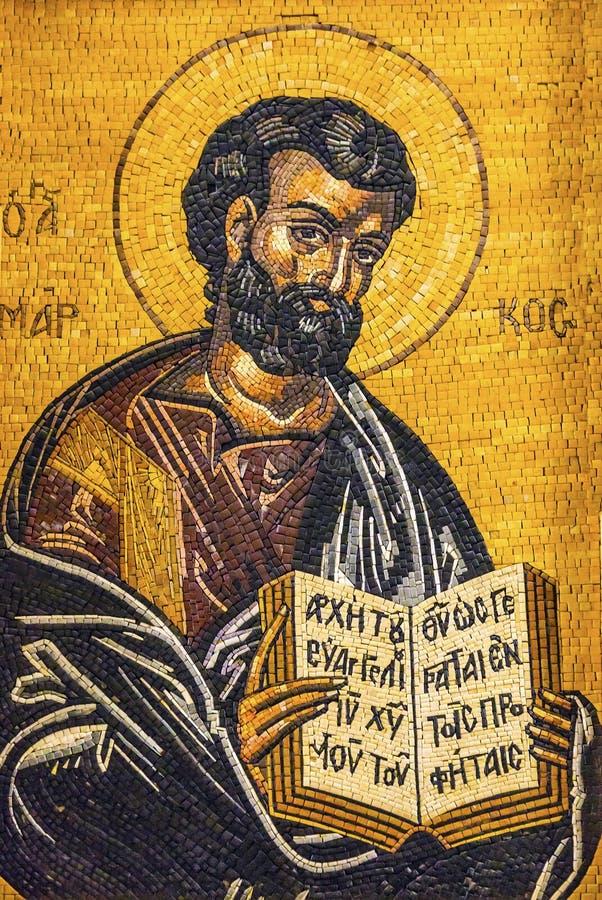 Ewangelii Mark mozaiki świętego George Pisarski ` s Kościelny Madaba Jordania zdjęcia stock