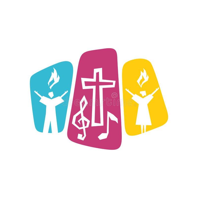 Ewangelii muzyki logo Cześć władyki jezus chrystus i występ piosenka apoteozowanie bóg ilustracja wektor