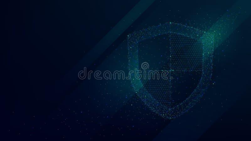 Ewidencyjna dane i sieci ochrona, przyszłościowy technologia biznesu system bezpieczeństwa ilustracja wektor