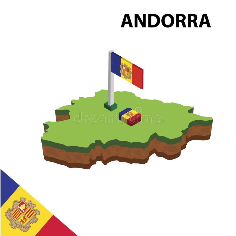 Ewidencyjna graficzna Isometric mapa i flaga Andorra 3d isometric wektorowa ilustracja ilustracja wektor