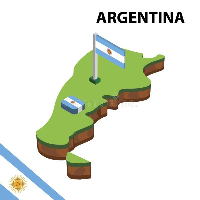 Ewidencyjna graficzna Isometric mapa i flaga Argentyna 3d isometric wektorowa ilustracja ilustracji