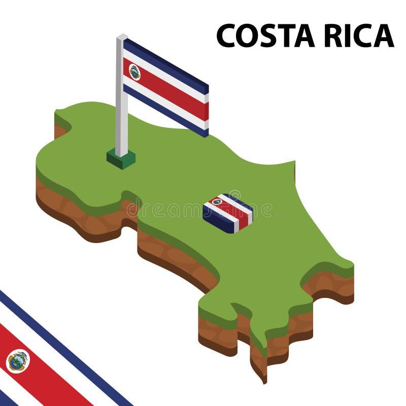 Ewidencyjna graficzna Isometric mapa i flaga COSTA RICA 3d isometric wektorowa ilustracja ilustracji