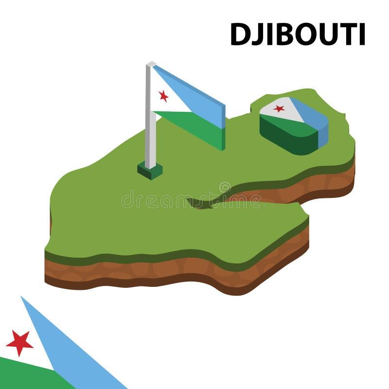 Ewidencyjna graficzna Isometric mapa i flaga DJIBOUTI 3d isometric wektorowa ilustracja ilustracja wektor