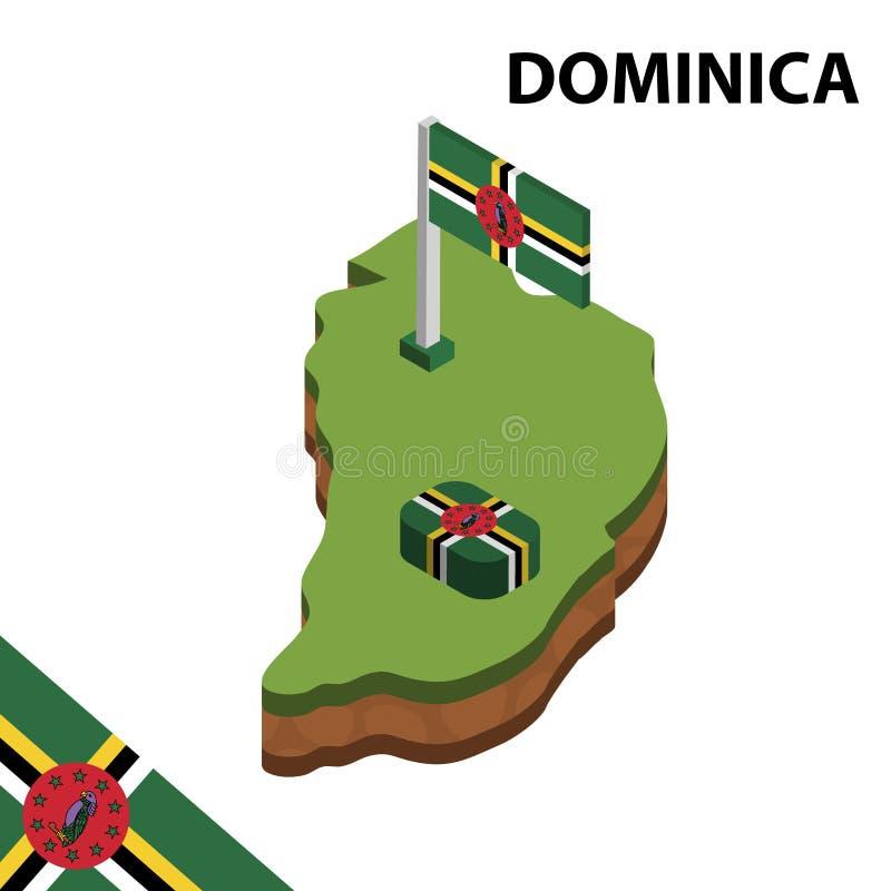 Ewidencyjna graficzna Isometric mapa i flaga DOMINICA 3d isometric wektorowa ilustracja ilustracja wektor