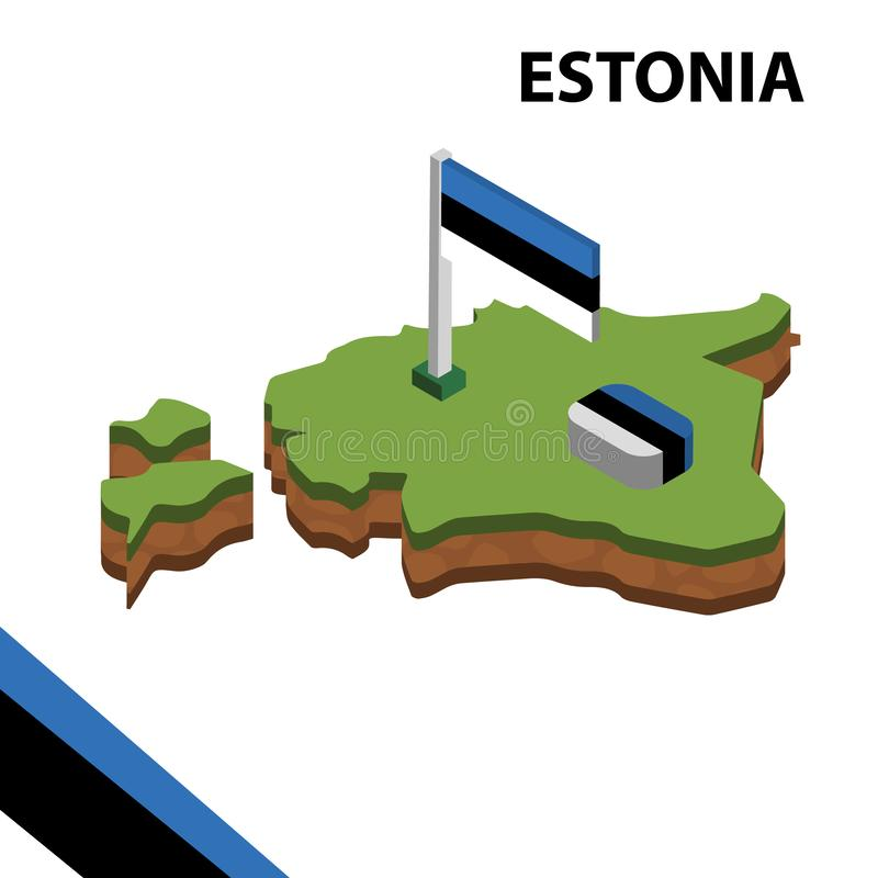 Ewidencyjna graficzna Isometric mapa i flaga ESTONIA 3d isometric wektorowa ilustracja ilustracja wektor