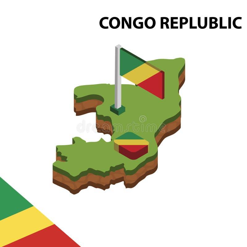 Ewidencyjna graficzna Isometric mapa i flaga KONGO REPLUBLIC 3d isometric wektorowa ilustracja royalty ilustracja