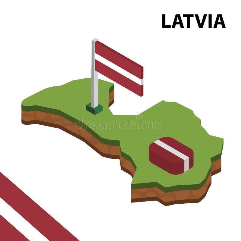 Ewidencyjna graficzna Isometric mapa i flaga LATVIA 3d isometric wektorowa ilustracja ilustracji