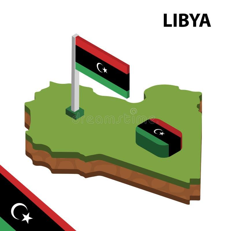 Ewidencyjna graficzna Isometric mapa i flaga LIBIA 3d isometric wektorowa ilustracja ilustracji