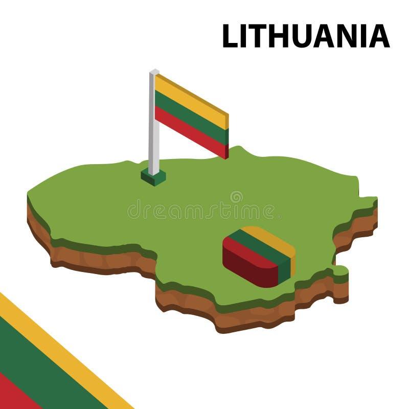 Ewidencyjna graficzna Isometric mapa i flaga LITHUANIA 3d isometric wektorowa ilustracja ilustracji