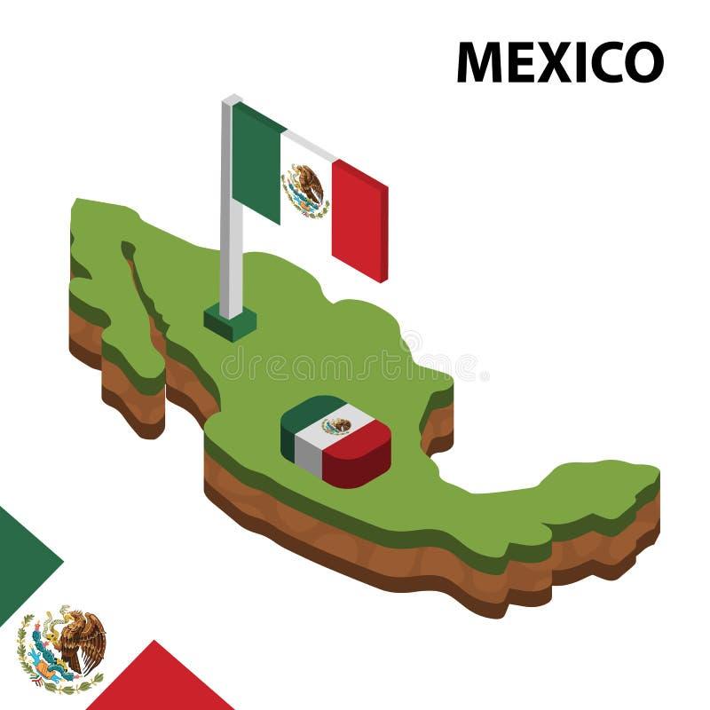 Ewidencyjna graficzna Isometric mapa i flaga MEKSYK 3d isometric wektorowa ilustracja ilustracja wektor