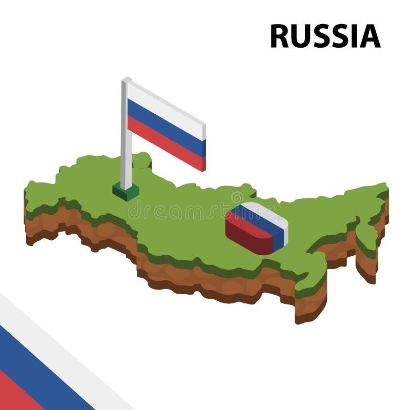 Ewidencyjna graficzna Isometric mapa i flaga ROSJA 3d isometric wektorowa ilustracja ilustracji