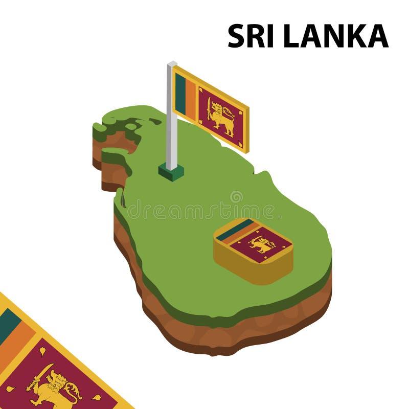 Ewidencyjna graficzna Isometric mapa i flaga SRI LANKA 3d isometric wektorowa ilustracja ilustracja wektor
