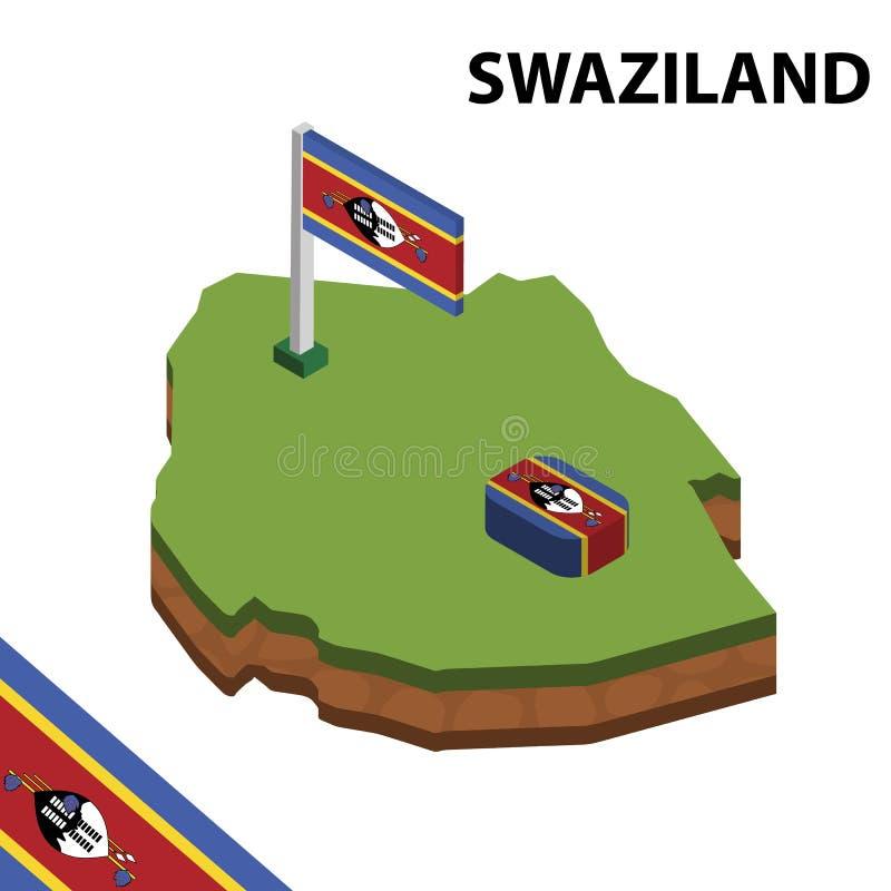 Ewidencyjna graficzna Isometric mapa i flaga SWAZILAND 3d isometric wektorowa ilustracja ilustracji