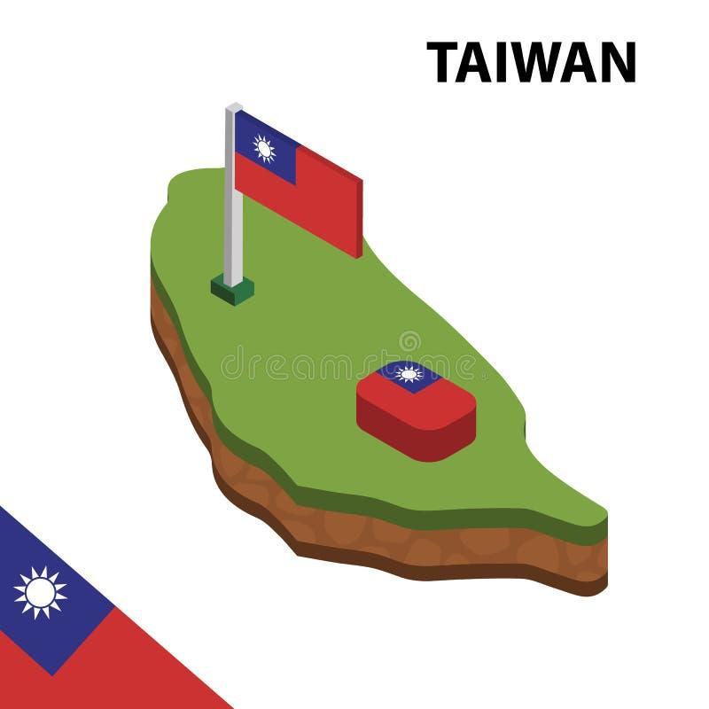 Ewidencyjna graficzna Isometric mapa i flaga TAJWAN 3d isometric wektorowa ilustracja ilustracja wektor