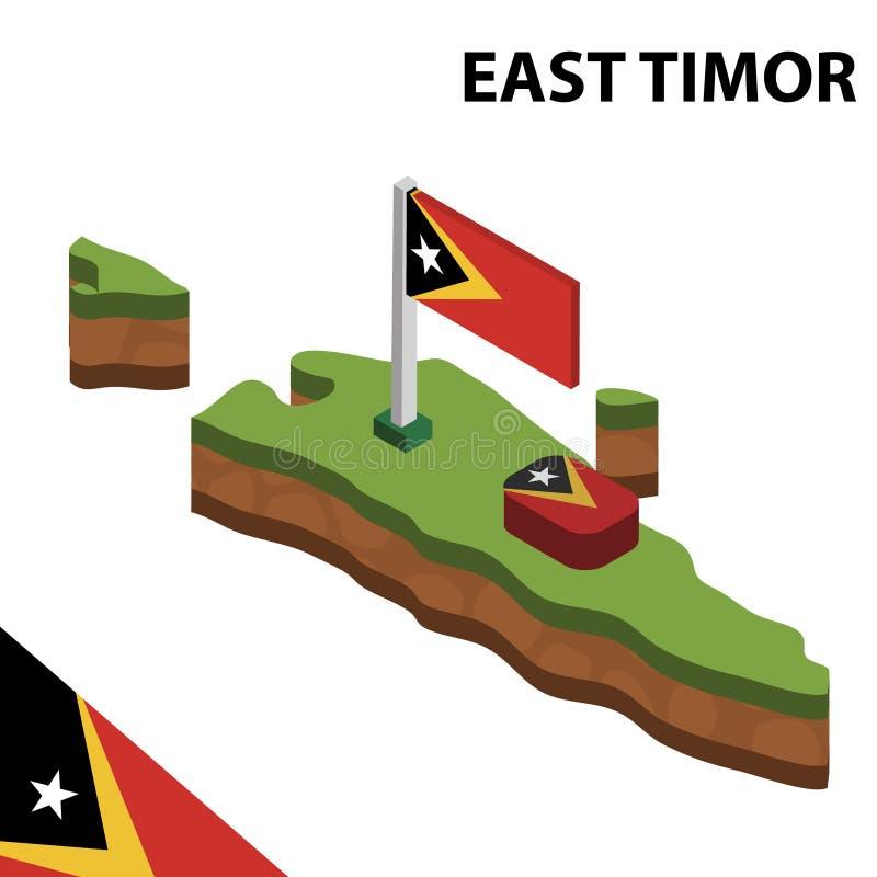 Ewidencyjna graficzna Isometric mapa i flaga TIMOR WSCHODNI 3d isometric wektorowa ilustracja ilustracja wektor