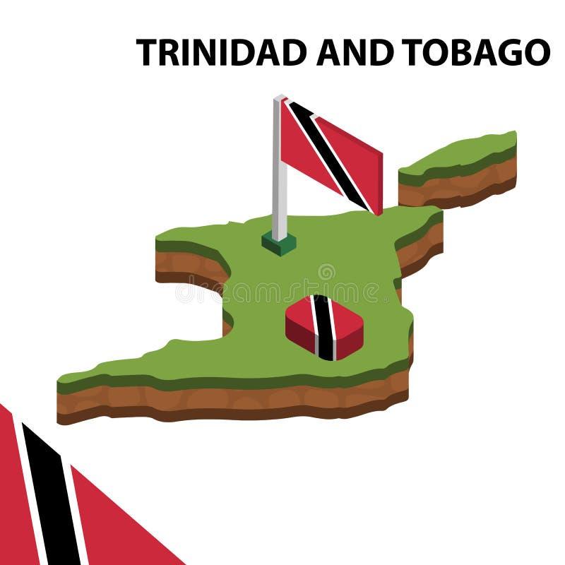 Ewidencyjna graficzna Isometric mapa i flaga TRINIDAD I TOBAGO 3d isometric wektorowa ilustracja ilustracja wektor