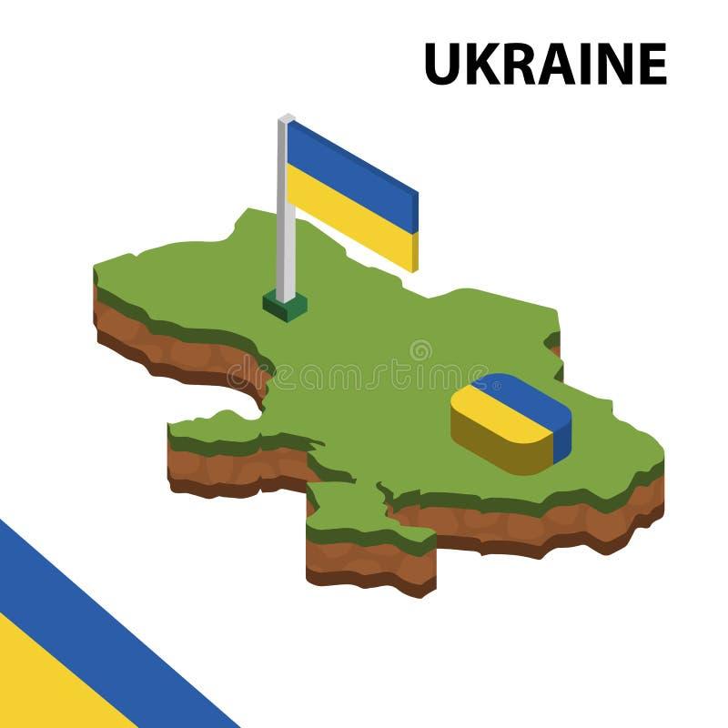 Ewidencyjna graficzna Isometric mapa i flaga UKRAINA 3d isometric wektorowa ilustracja royalty ilustracja