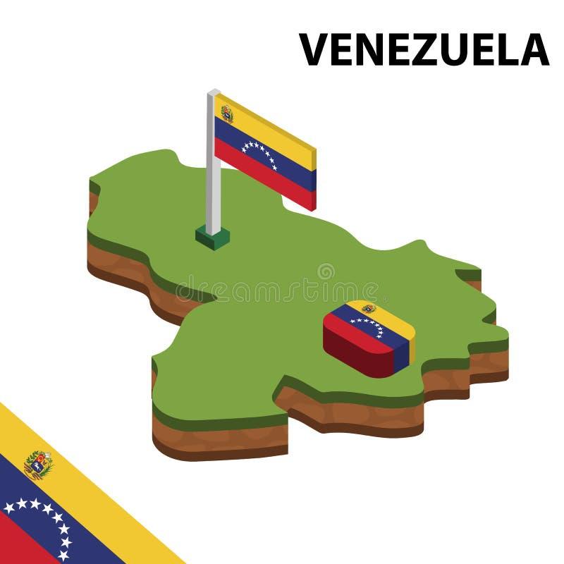 Ewidencyjna graficzna Isometric mapa i flaga WENEZUELA 3d isometric wektorowa ilustracja ilustracja wektor
