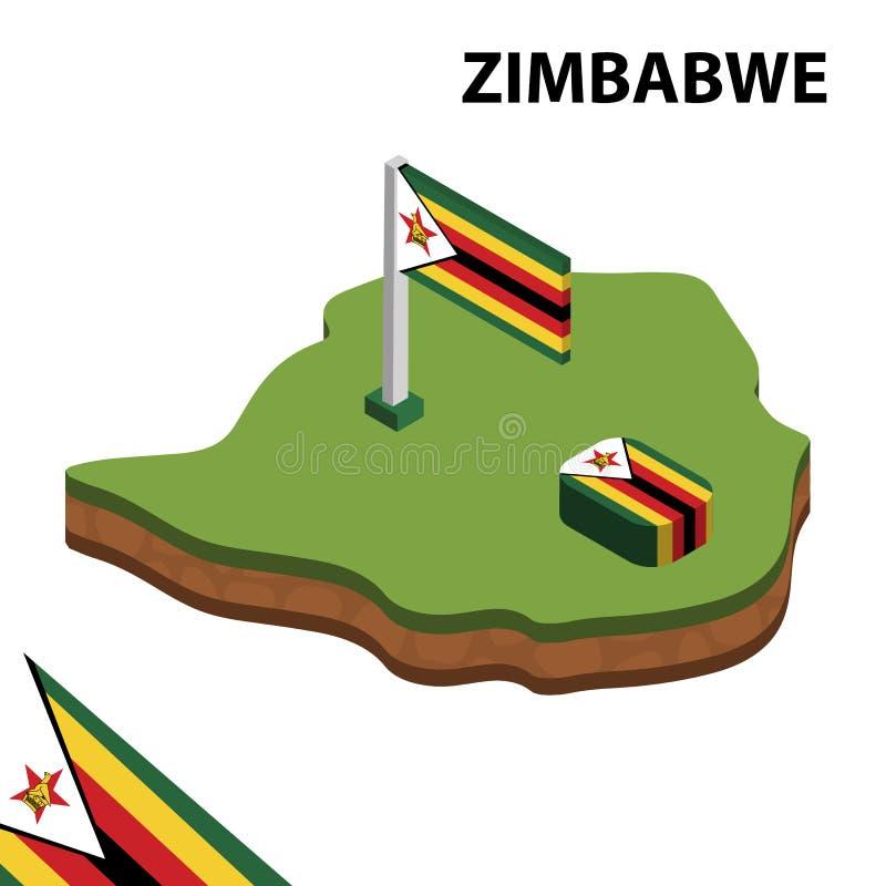 Ewidencyjna graficzna Isometric mapa i flaga ZIMBABWE 3d isometric wektorowa ilustracja ilustracji