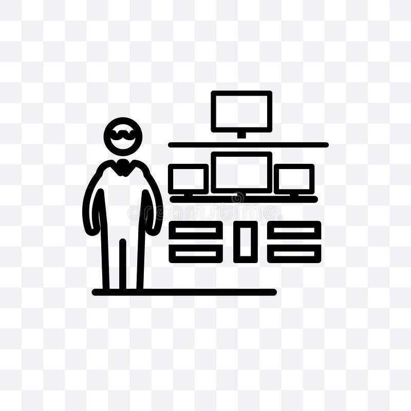 Ewidencyjnego analityk bezpieczeństwa wektorowa liniowa ikona odizolowywająca na przejrzystym tle, Ewidencyjna analityk bezpiecze royalty ilustracja