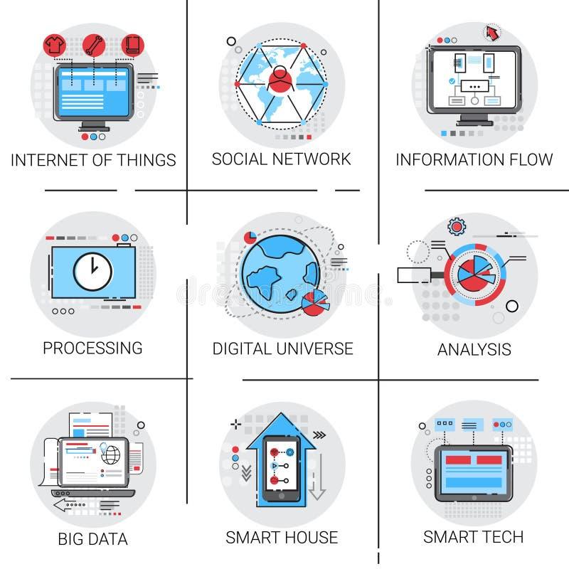 Ewidencyjnego przepływu dane Globalnej ikony Ustalony internet rzeczy Mądrze technologia ilustracja wektor