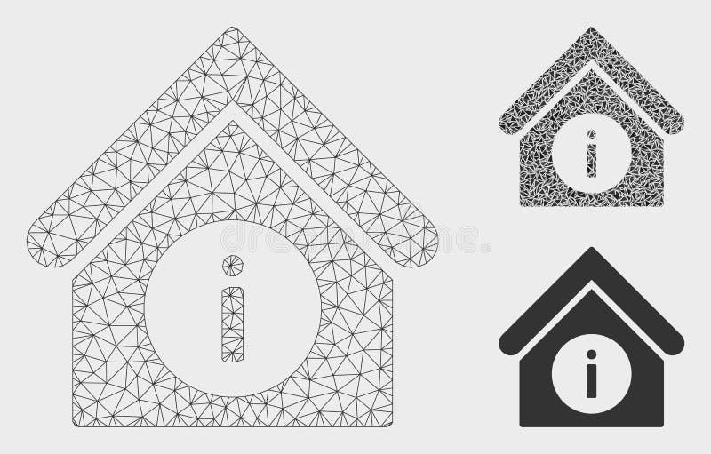 Ewidencyjnej budynek Wektorowej siatki trójboka i modela mozaiki 2D ikona ilustracji
